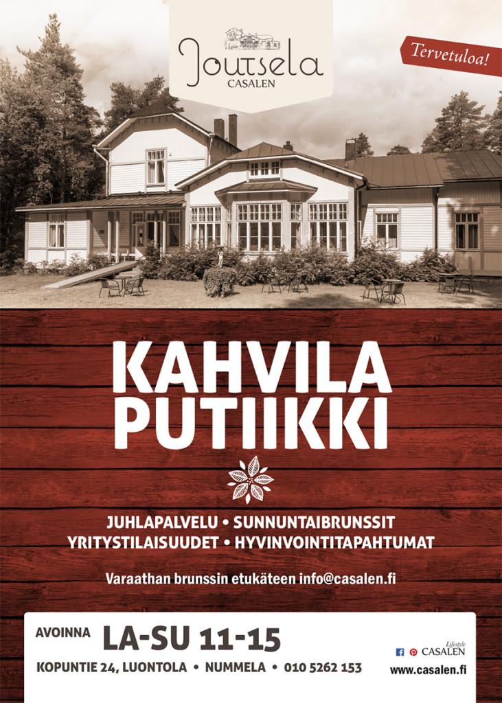 Casalen Joutsela kahvila mainos. Kuvaus ja graafinen suunnittelu.
