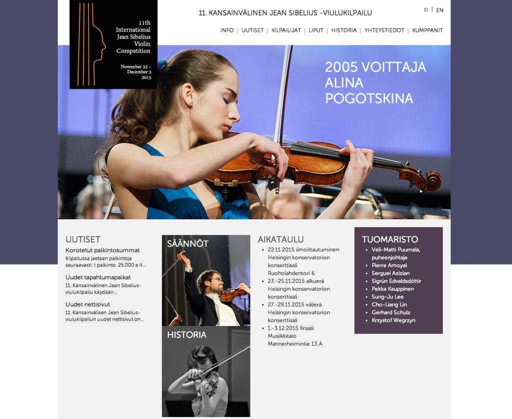 Sibelius viulukilpailun kotisivut